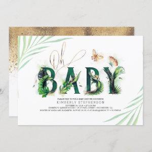 Oh Baby Tropical Greenery and Gold Baby Shower Invitation starting at 2.40