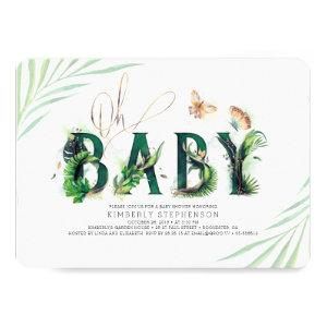 Oh Baby Tropical Greenery and Gold Baby Shower Invitation starting at 2.60