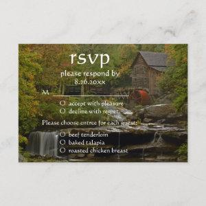 Old Country Mill Rustic Waterfall Wedding RSVP starting at 2.22