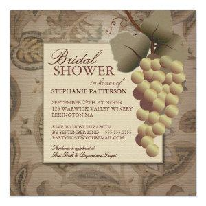 Old World Grapevine Wine Bridal Shower Invitation starting at 2.46