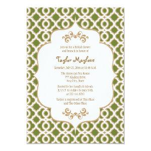 Olive Green Gold Moroccan Bridal Shower Invites starting at 2.66