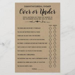 Ove or Under bridal shower spanish english game starting at 0.76