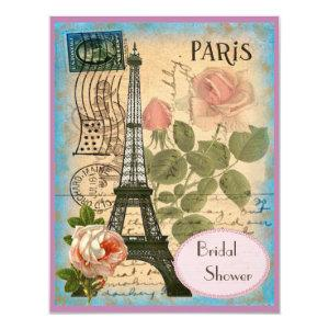 Pairs Eiffel Tower & Roses Bridal Shower Invitation starting at 2.31