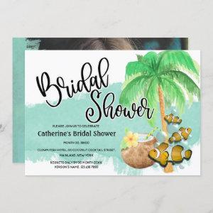 Palm coconut watercolor island fish reef party invitation starting at 2.40