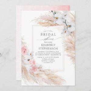 Pampas Grass and White Orchids Chic Bridal Shower Invitation starting at 2.51