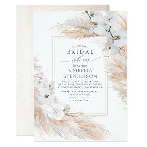 Pampas Grass and White Orchids Chic Bridal Shower Invitation starting at 2.26