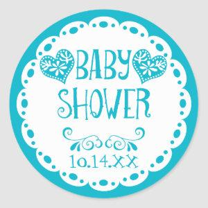 Papel Picado Baby Shower Pool Blue Fiesta Envelope Classic Round Sticker starting at 7.85