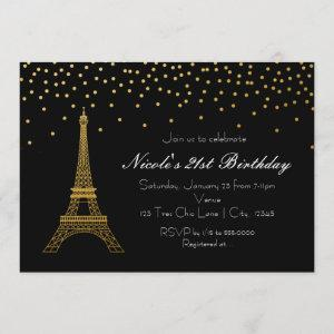 Paris Eiffel Tower Black & Gold Party Invitations starting at 2.56