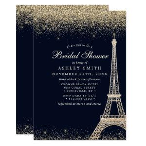 Paris Eiffel Tower Gold Sparkle Bridal Shower Invitation starting at 2.55