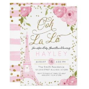 Paris Eiffel Tower Pink Gold Baby Shower Invitation starting at 2.50
