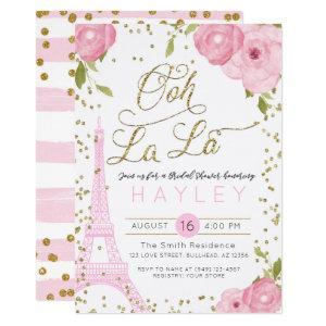 Paris Eiffel Tower Pink Gold Bridal Shower Invite starting at 2.55