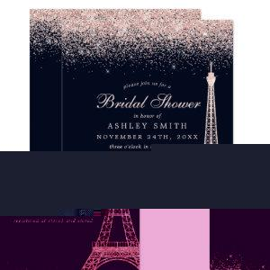 Paris Eiffel Tower Rose Gold Sparkle Bridal Shower Invitation starting at 2.55