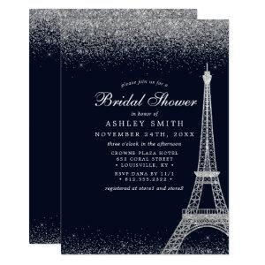 Paris Eiffel Tower Silver Sparkle Bridal Shower Invitation starting at 2.55