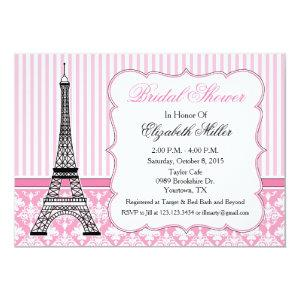 Paris Eiffel Tower Theme Party Pink Invitation starting at 2.56