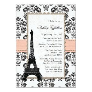 Parisian Coral Peach Bridal Shower Invitations starting at 2.66