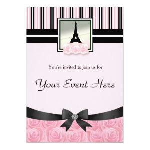 Parisian party Eiffel tower pink roses invitation starting at 2.82