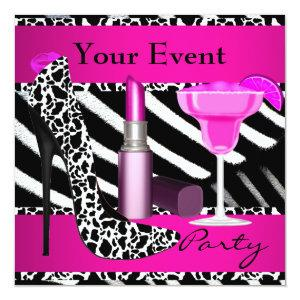 Party Event Zebra Shoes Hot Pink Lipstick Invitation starting at 2.51