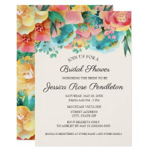 Pastel Pink Teal Yellow Floral Bridal Shower Invitation starting at 2.55
