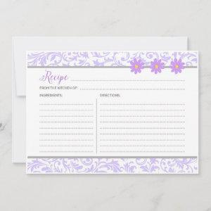 Pastel Purple Floral Recipe Card starting at 2.46