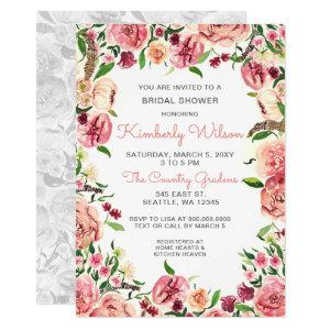 Peach and Coral Flowers Floral Bridal Shower Invitation starting at 2.50