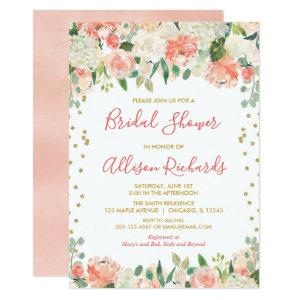 Peach and gold glitter floral bridal shower invitation starting at 2.36