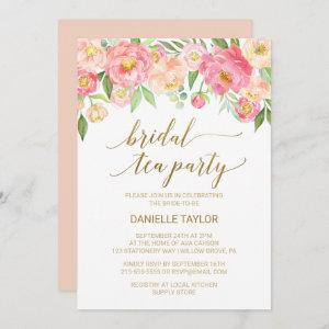 Peach and Pink Peony Flowers Bridal Tea Party Invitation starting at 2.51