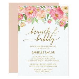 Peach and Pink Peony Flowers Brunch and Bubbly Invitation starting at 2.51