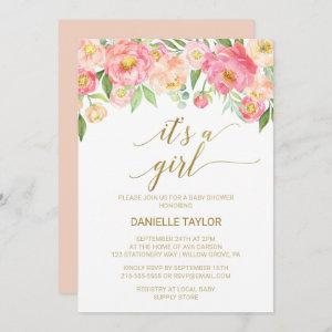 Peach and Pink Peony Flowers It's A Girl Invitation starting at 2.51