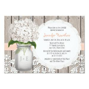 Peach and White Hydrangea Mason Jar Bridal Shower Invitation starting at 2.66