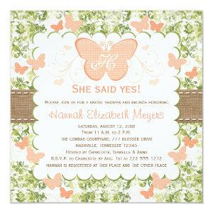 Peach Burlap Butterfly Bridal Shower Invitations starting at 2.51