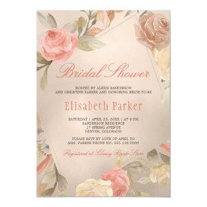 Peach Cream  Faux Gold Foil Floral Bridal Shower Invitation starting at 2.20