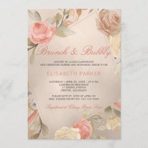 Peach Cream Faux Gold Foil Floral Brunch & Bubbly Invitation starting at 2.45