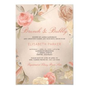 Peach Cream Faux Gold Foil Floral Brunch & Bubbly Invitation starting at 2.20