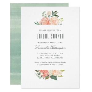 Peach & Cream Watercolor Floral Bridal Shower Invitation starting at 2.20