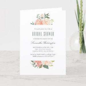 Peach & Cream Watercolor Floral Bridal Shower Invitation starting at 3.50