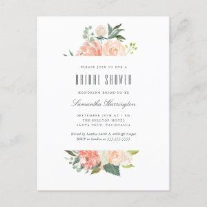 Peach & Cream Watercolor Floral Bridal Shower Invitation Postcard starting at 1.70