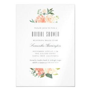 Peach & Cream Watercolor Floral Bridal Shower Magnetic Invitation starting at 3.05