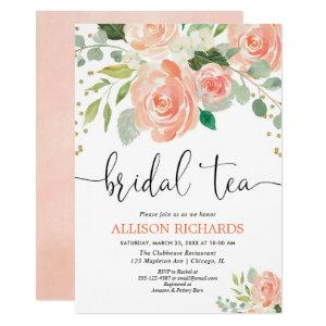 Peach floral tea party bridal shower invitations starting at 2.25