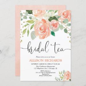 Peach floral tea party bridal shower invitations starting at 2.55