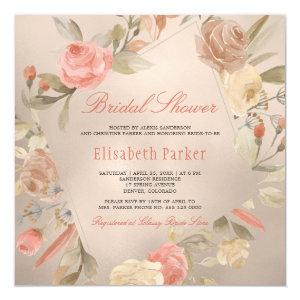 Peach Luxury Faux Gold Foil Floral Bridal Shower Invitation starting at 2.40