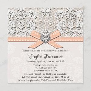 Peach Pearl Lace Diamond Bridal Shower starting at 2.51
