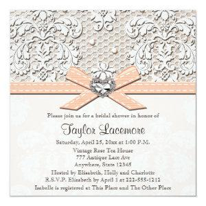 Peach Pearl Lace Diamond Bridal Shower Invitation starting at 2.51