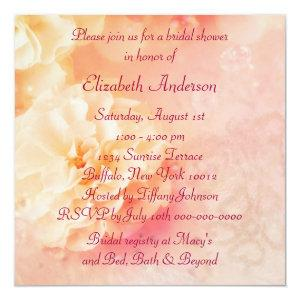 Peach Pearl Rose Diamonds Peach Bridal Shower Invitation starting at 2.51
