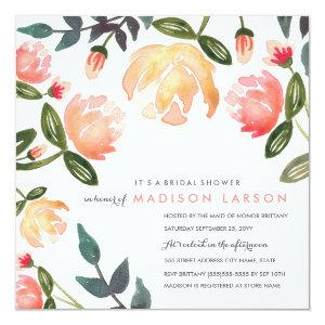 Peach Peonies Bridal Shower Invitation starting at 2.41