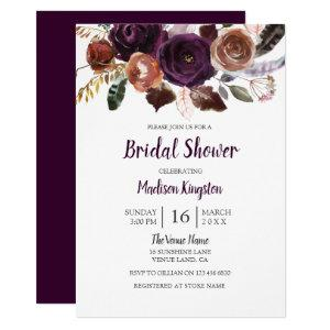 Peach & Purple Cute Floral Bridal Shower Invite starting at 2.40