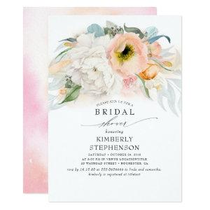 Peach White and Pink Floral Bohemian Bridal Shower Invitation starting at 2.26