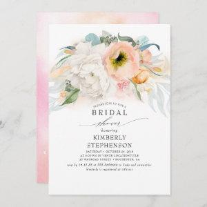 Peach White and Pink Floral Bohemian Bridal Shower Invitation starting at 2.51