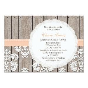 Peach Wood Lace Rustic Bridal Shower Invitations starting at 2.36