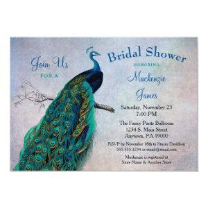 Peacock Bridal Shower Invitation Vintage Blue Bird starting at 2.66