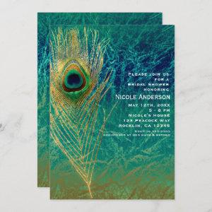 Peacock Feather Blue Teal Gold Exotic Invitations starting at 2.61
